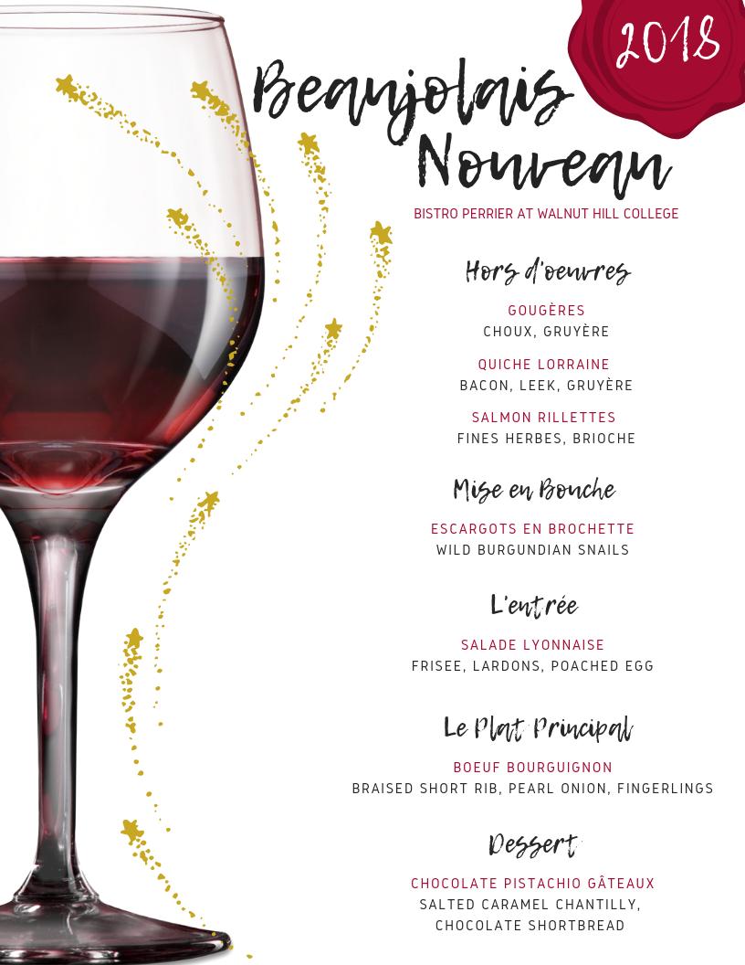 Beaujolais Nouveau Dinner Menu