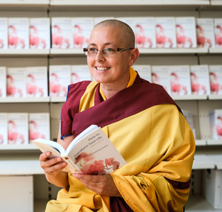 Kelsang Osung, the speaker at the book talk