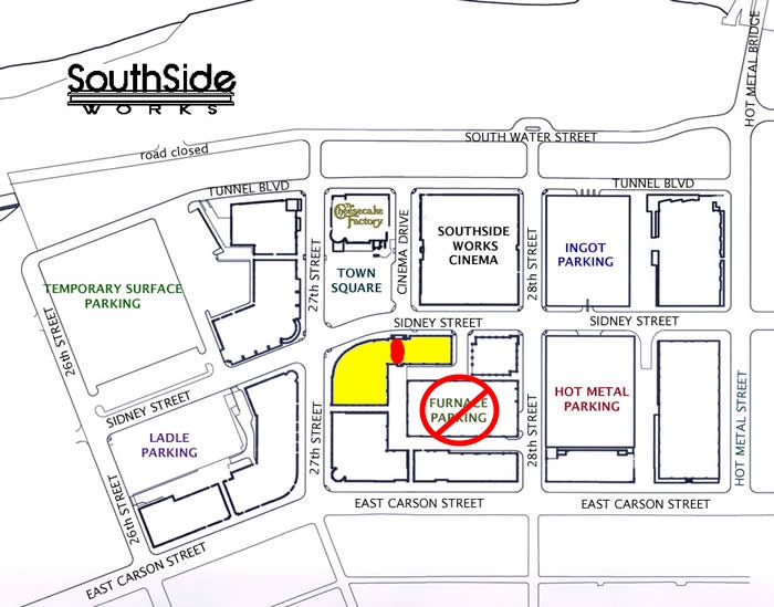 SouthSide Works Parking Map with Coderetreat location