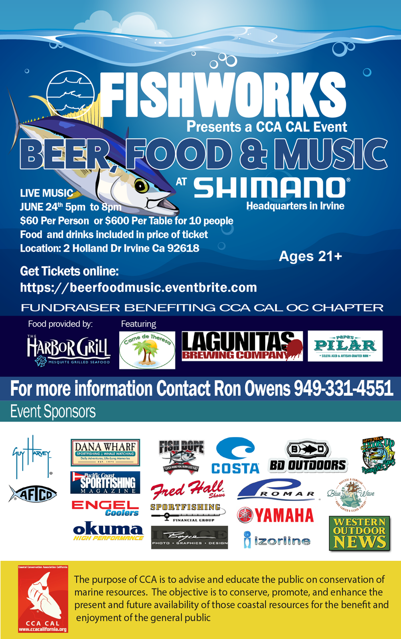 Fishworks Presents a CCA CAL event Beer, Food & Music at Shimano, Ages 21+