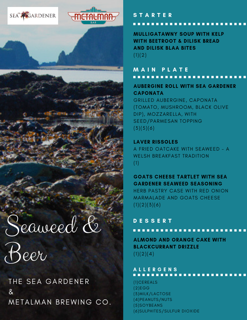 3 course menu for Seaweed and beer Pairing - Harvest Festival Spetember 8th 2018