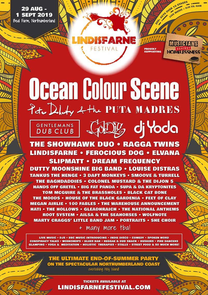 Lindisfarne Festival 2019 Lineup Poster