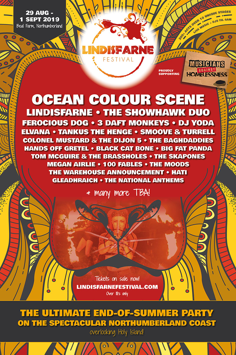 Lindisfarne Festival 2019 Lineup Poster