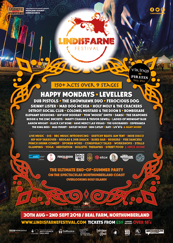 Lindisfarne Festival 2018 Lineup Poster
