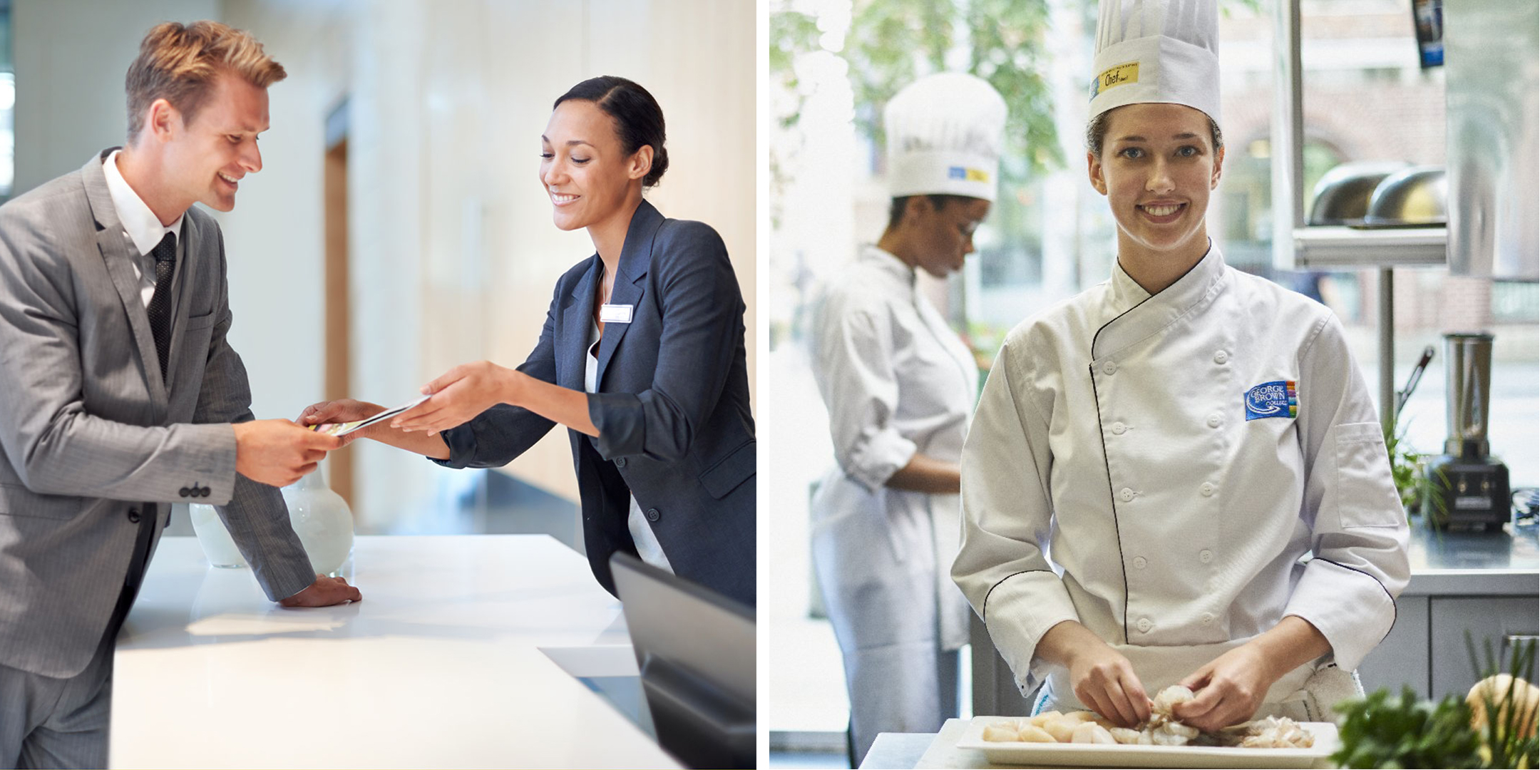 Hotel worker greeting guest beside a culinary student