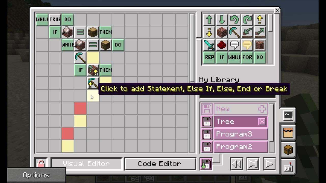 L'interfacci di sviluppo visuale di Minecraft Edu