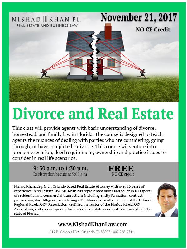 11.21.17 Divorce and Real Estate Flyer
