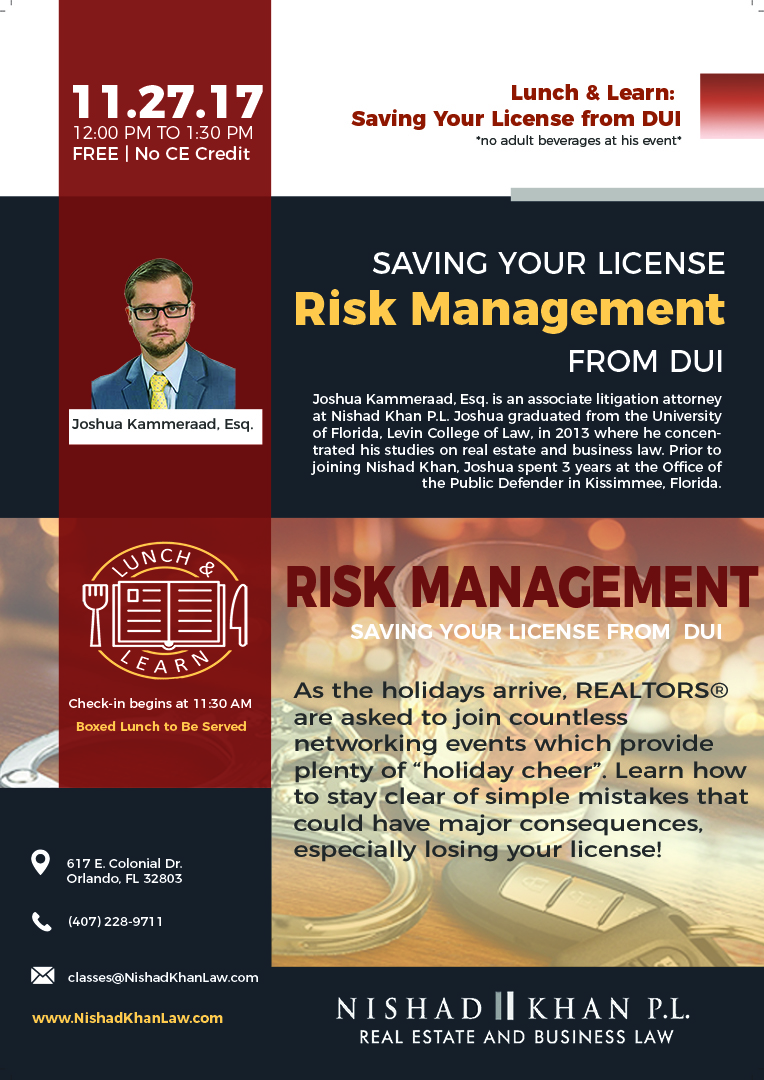 Risk Management: Saving Your License from a DUI flyer