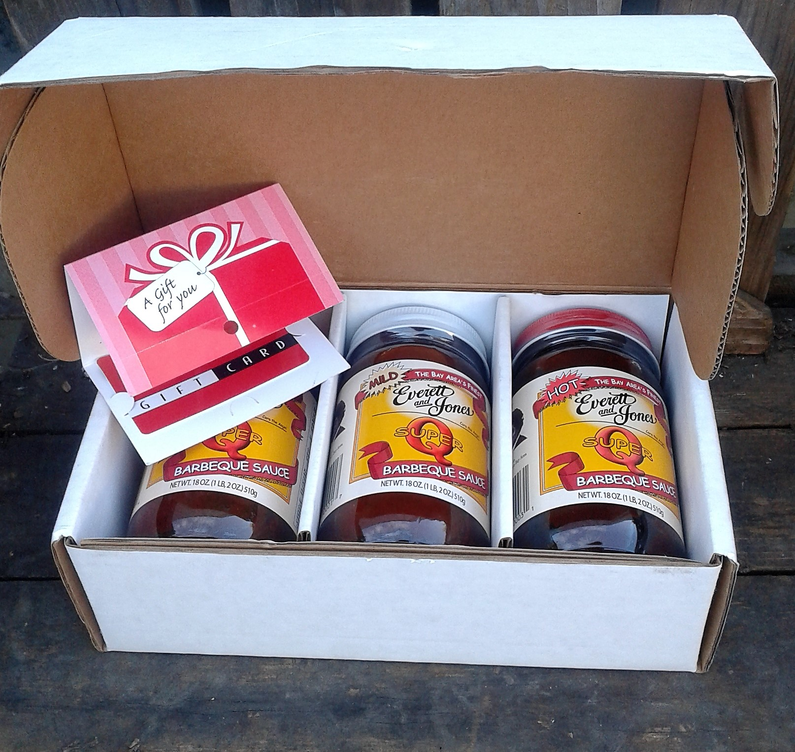 A gift box of Everett and Jones Barbeque 3 sauces