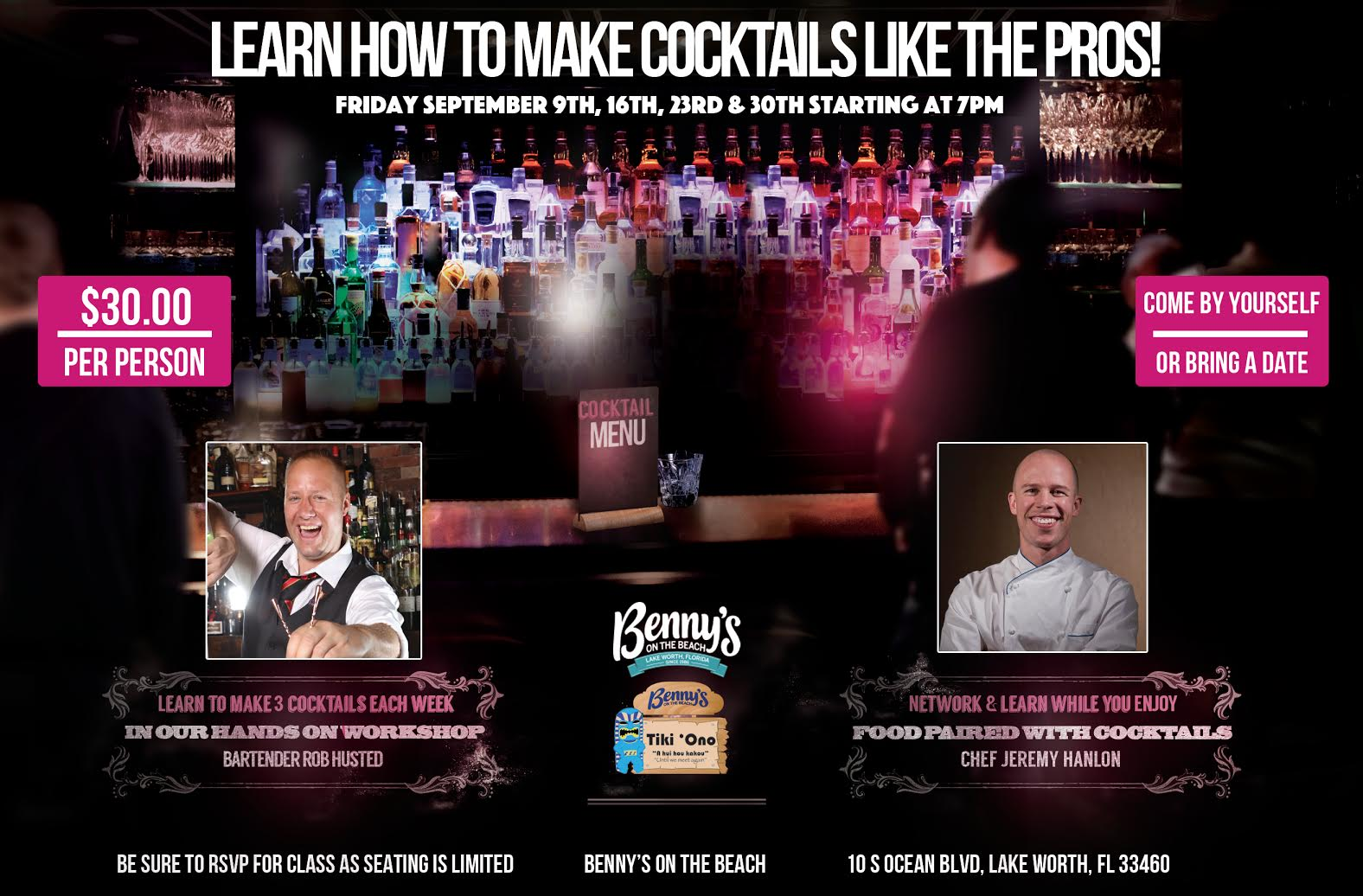Libations & Learning hosted by Tiki Ono at Benny's on the Beach