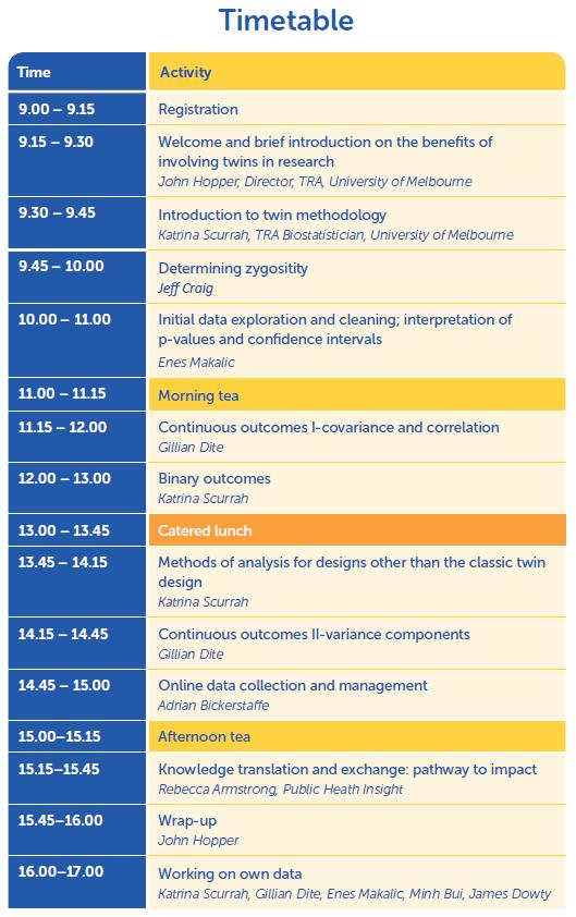 Workshop timetable