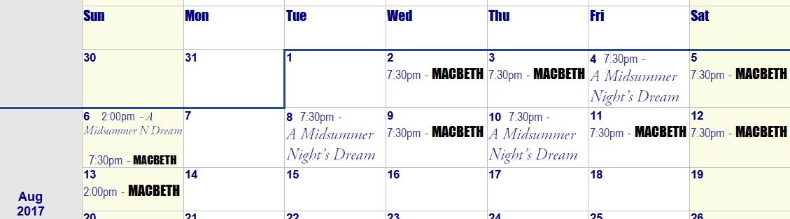 Calendar Plan A