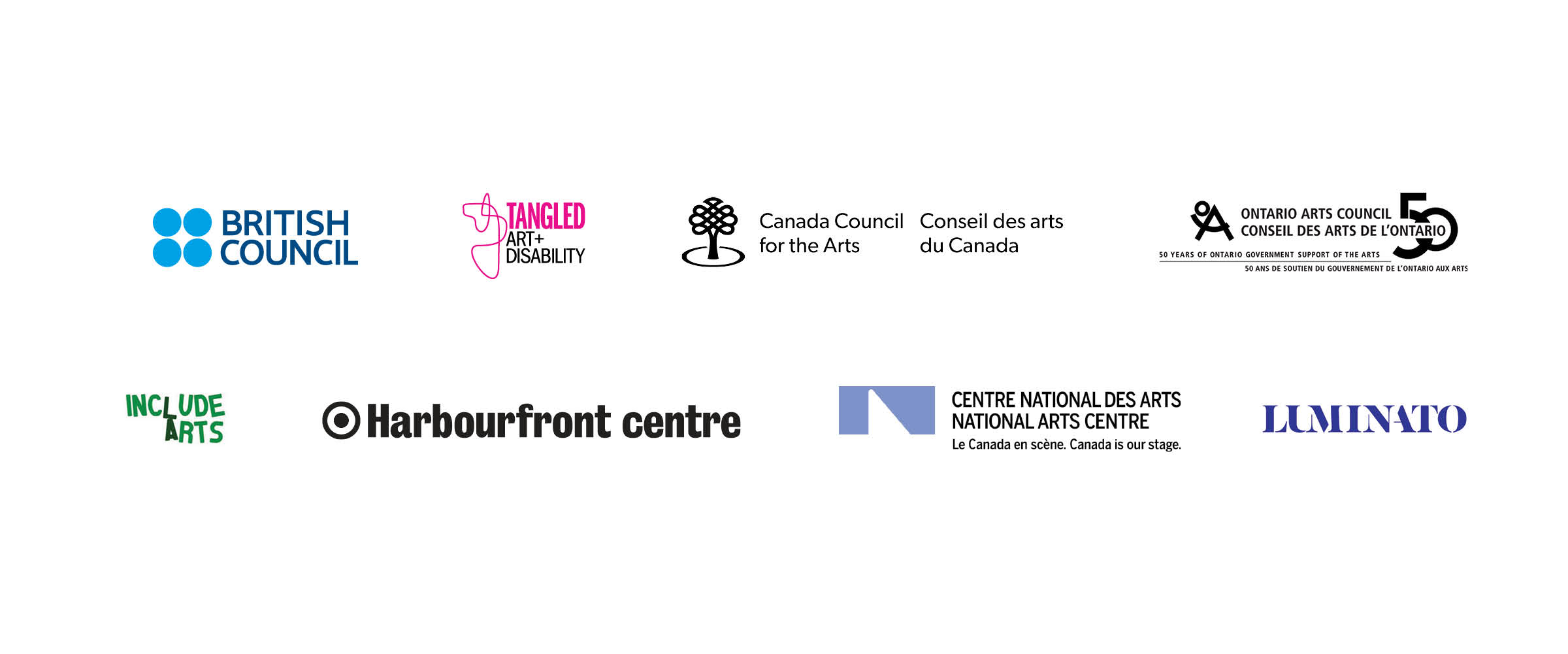 British Council, Tangled Art and Disability, Canada Council for the Arts, Ontario Arts Council, Include Arts, Harbourfront centre, National Arts Centre, Luminator