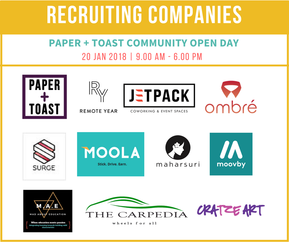 PAPER + TOAST Community Open Day: Recruiting Company List