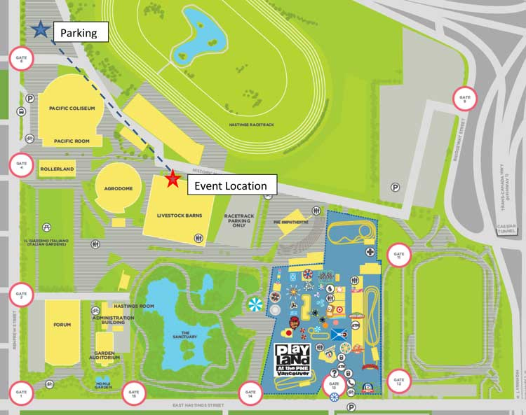 Event location map at PNE