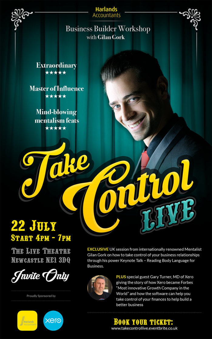 Harlands Take Control : Live Event Flyer