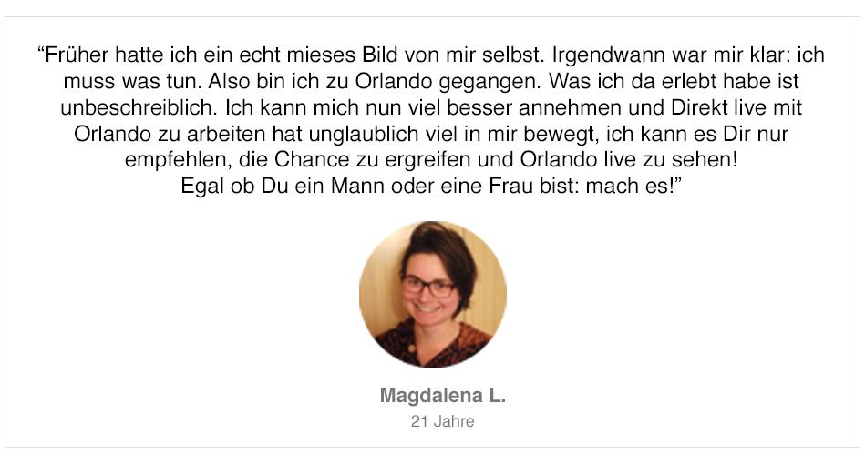 Teilnehmerstimme von Magdalena