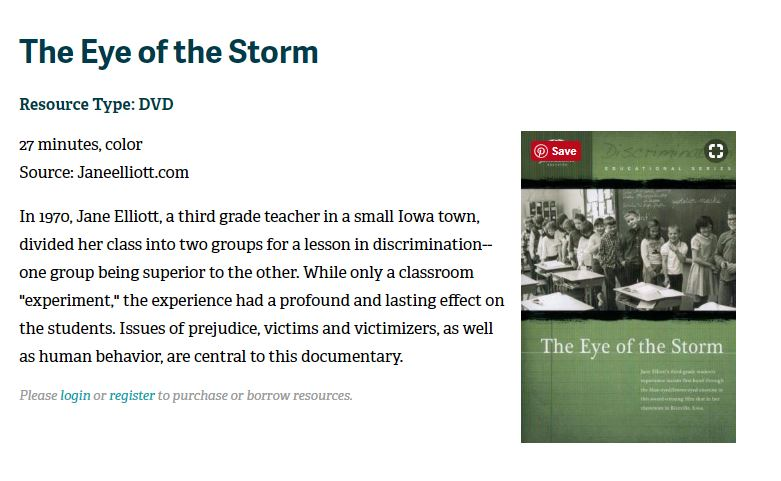 Jane Elliot - The Eye of the Storm dvd resource