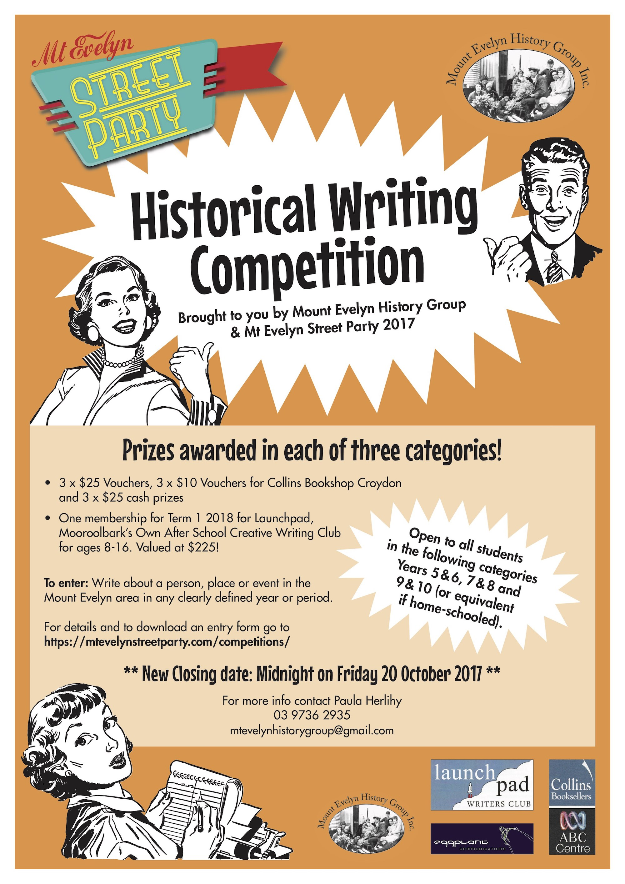 Mt Evelyn Street Party Historical Writing Competition Poster 2017