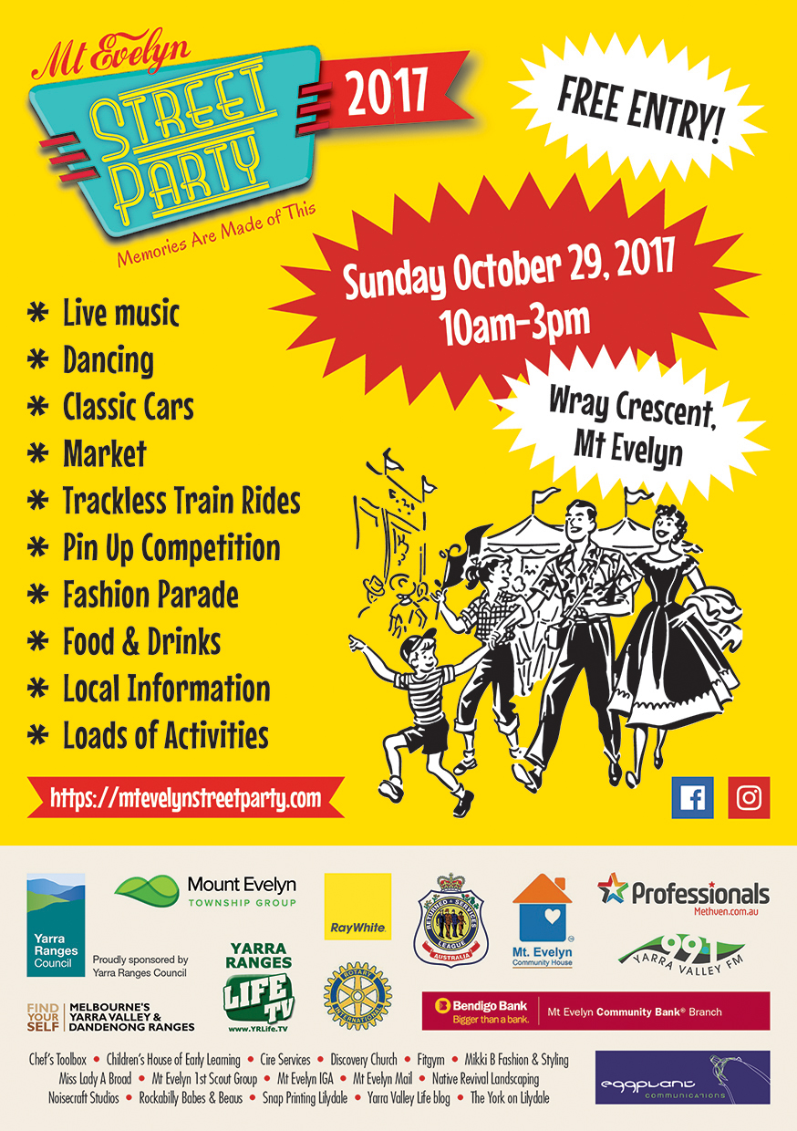 Mt Evelyn Street Party 2017 Poster