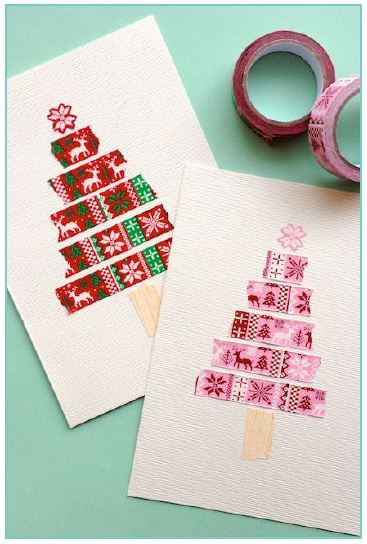 Christmas card with washi tape cut in different sizes to form a Christmas tree. Different designs available with red & green or pink colours.