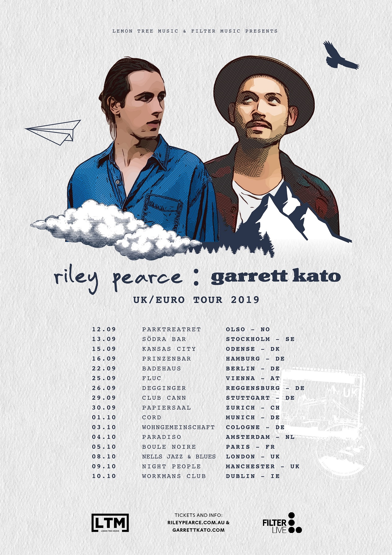 Garrett Kato + Riley Pearce Euro & UK Tour 2019