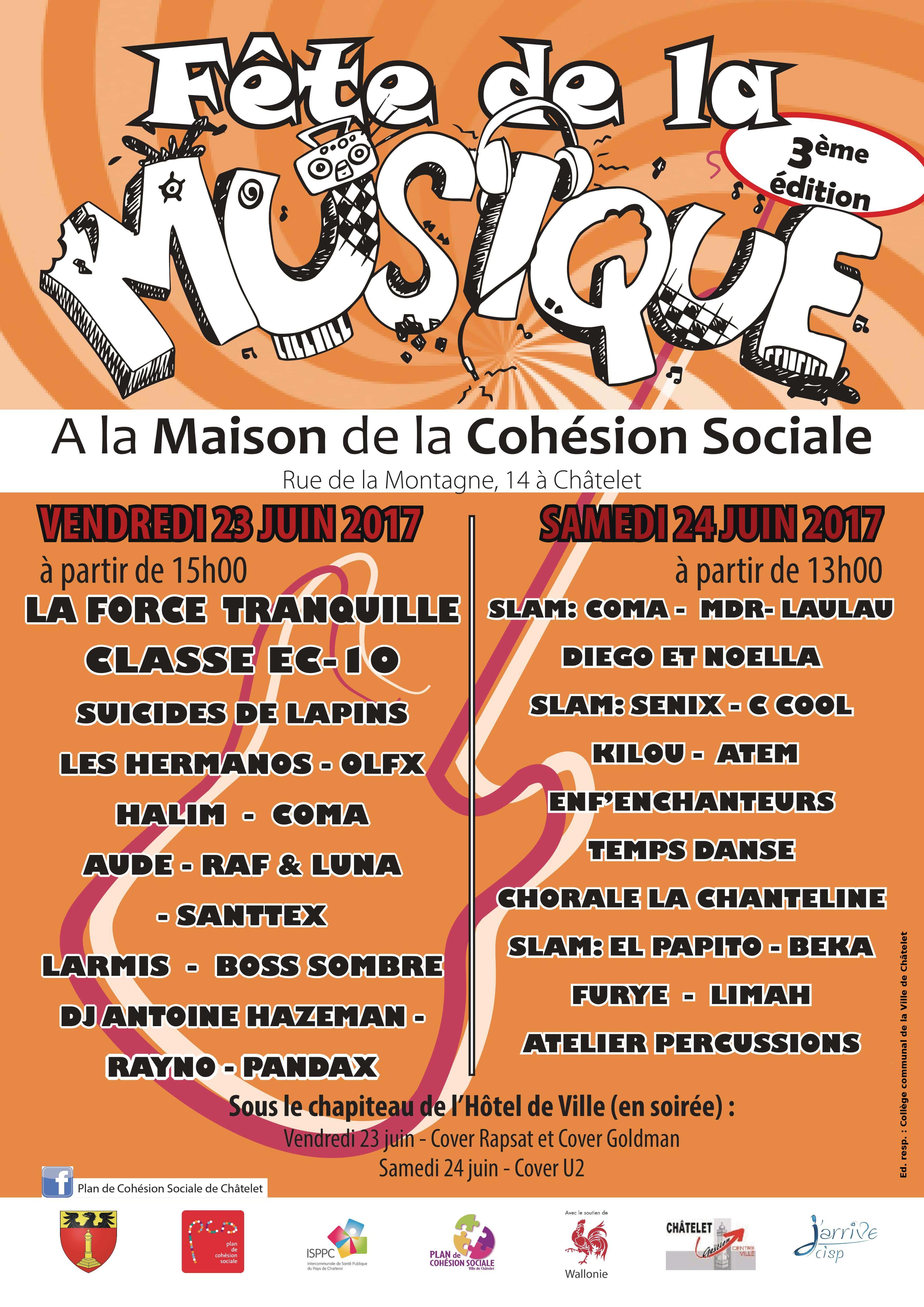 Affiche programmation Fêtes musique Châtelet