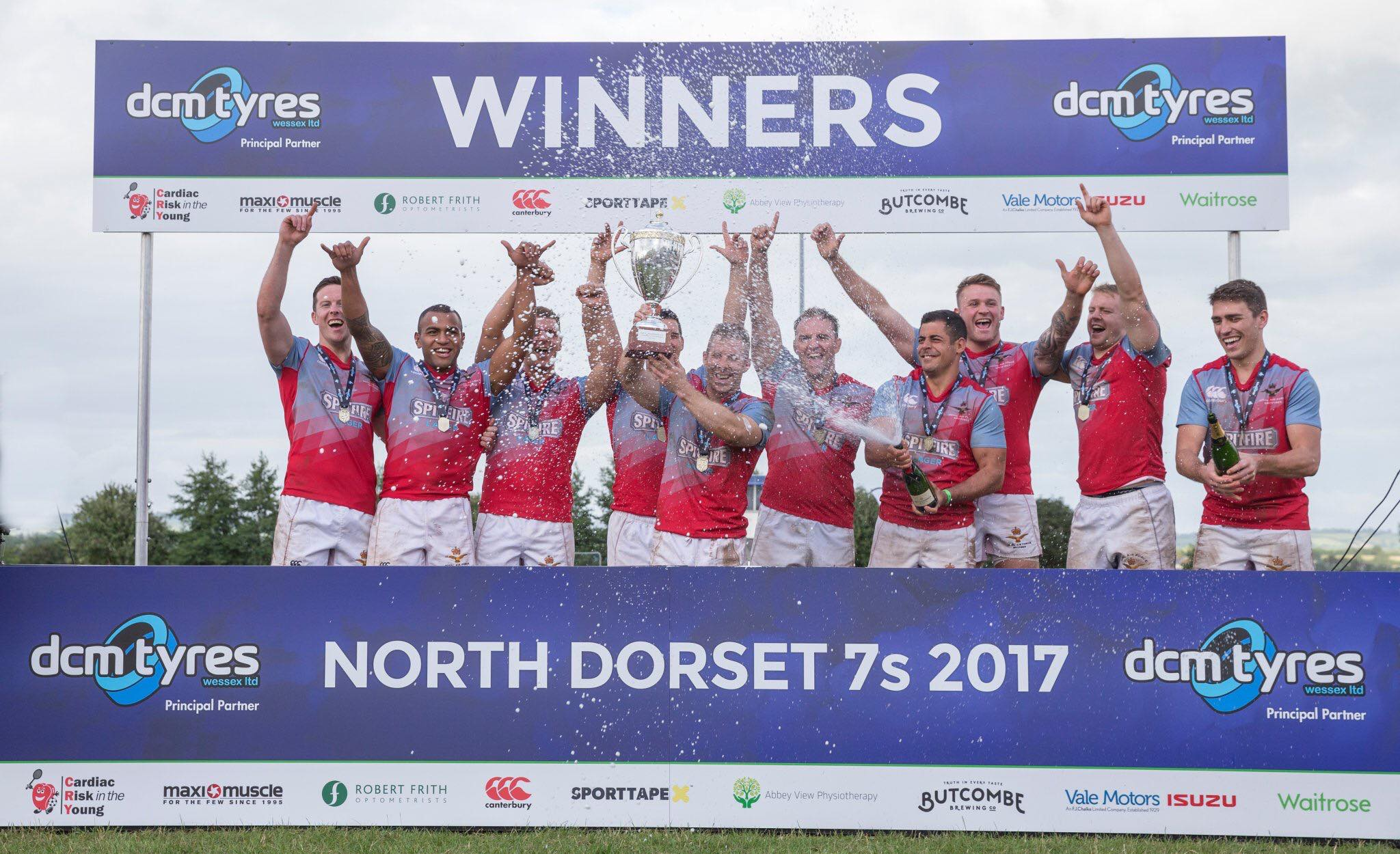 Winners podium for North Dorset 7s 2017.