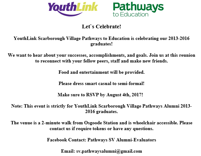 YouthLink Scarborough Village Pathways to Education Alumni Reunion Invite