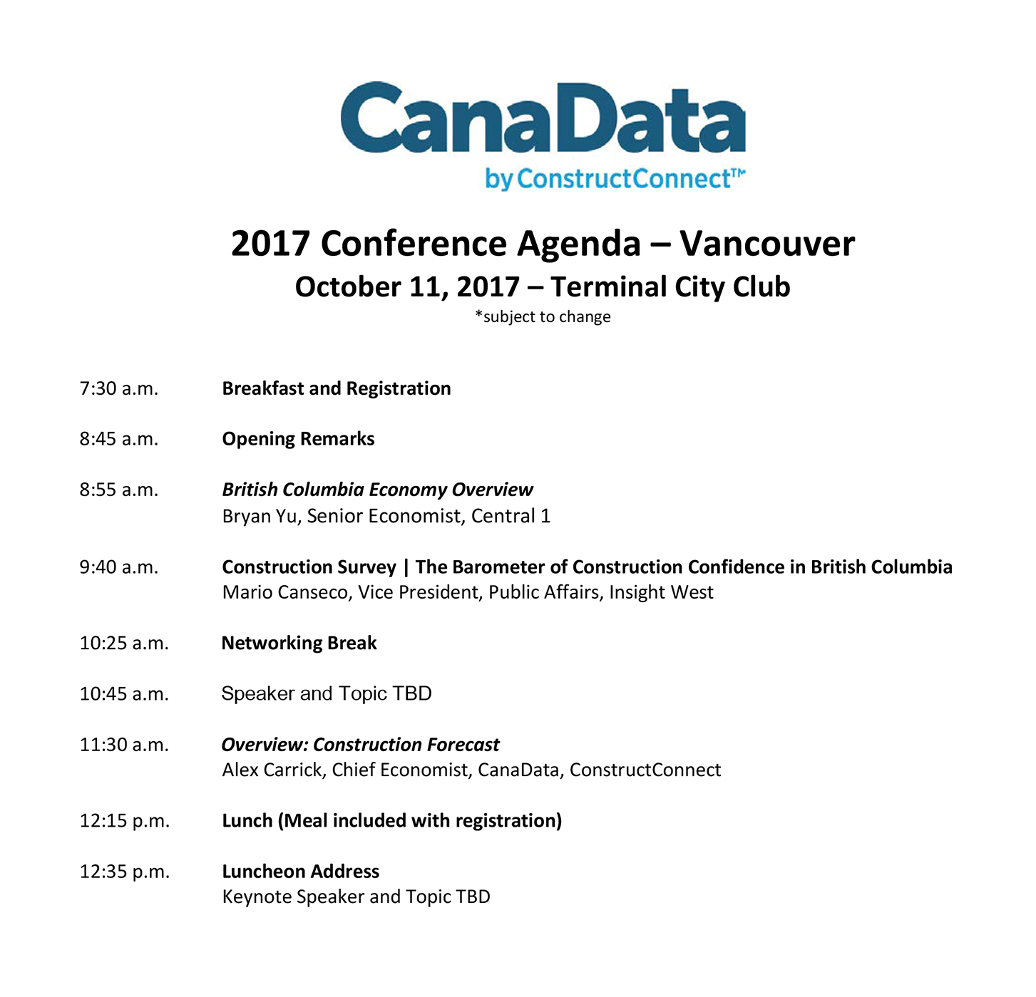 2017 CanaData West Conference Schedule