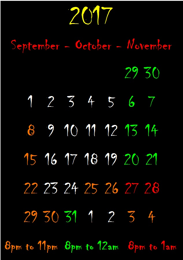 Containment Haunted House 2017 calendar