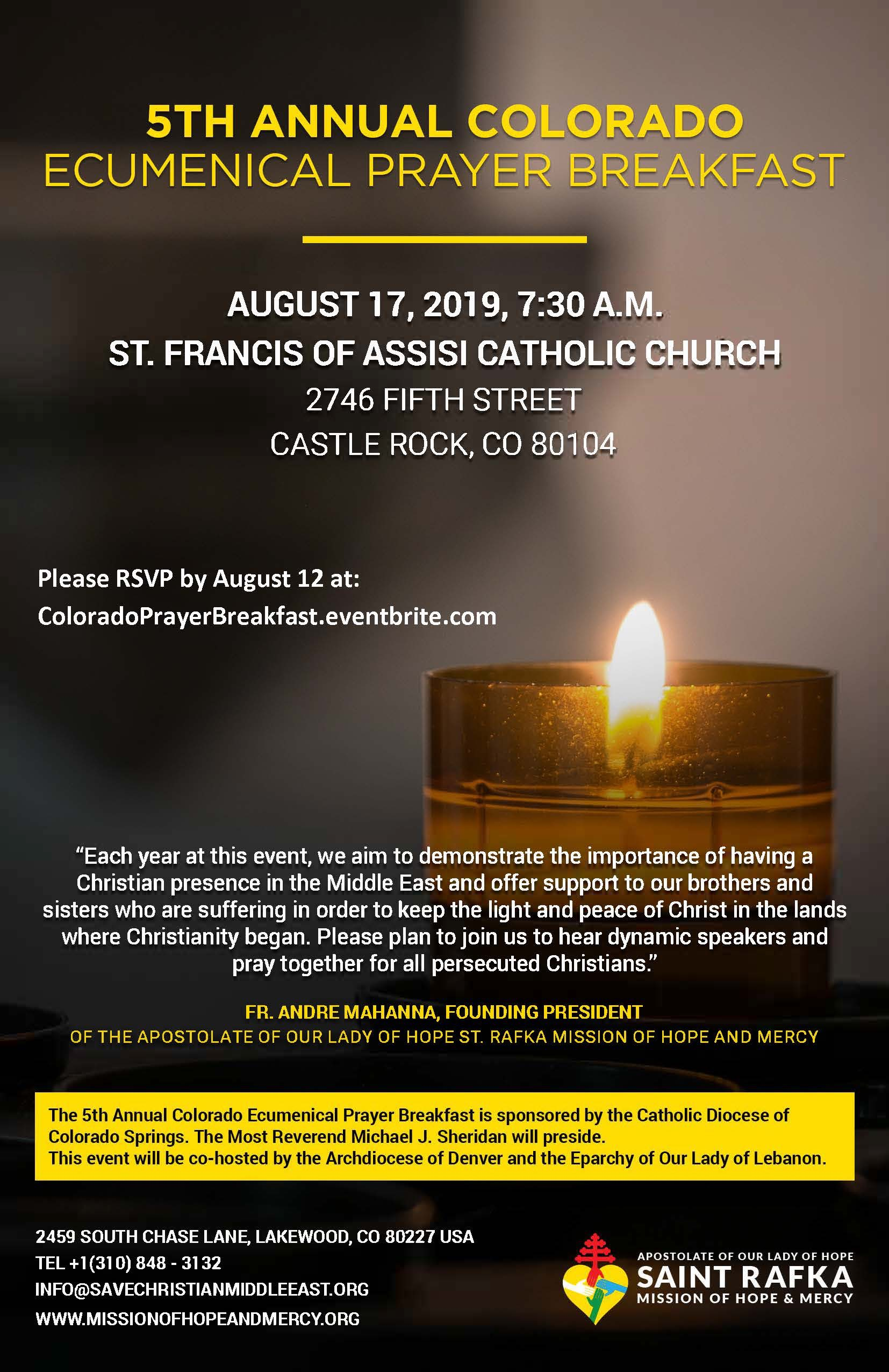 5th Annual Colorado Ecumenical Prayer Breakfast August 17, 7:30 am