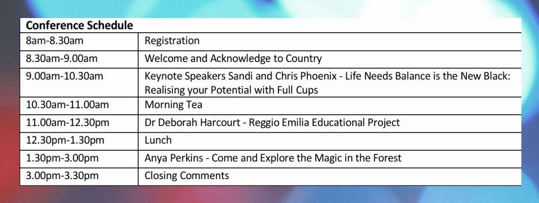 Bringing Back the Magic Child Care Conference Schedule
