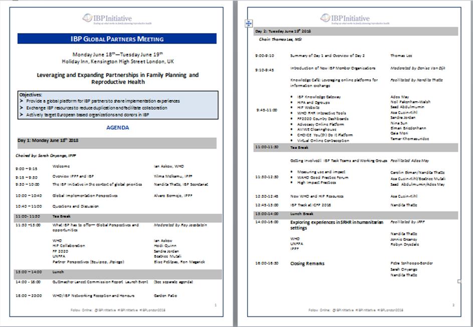 IBP Meeting Agenda
