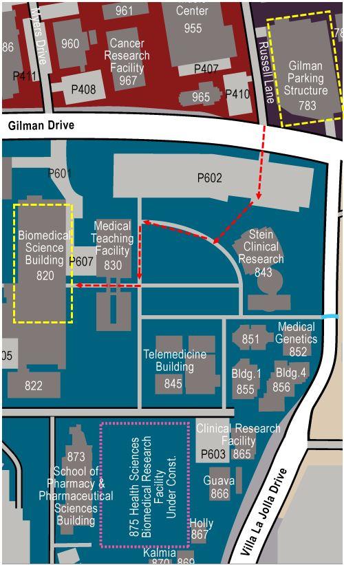 Map Gilman Parking Structure to Garren Auditorium (within BSB)