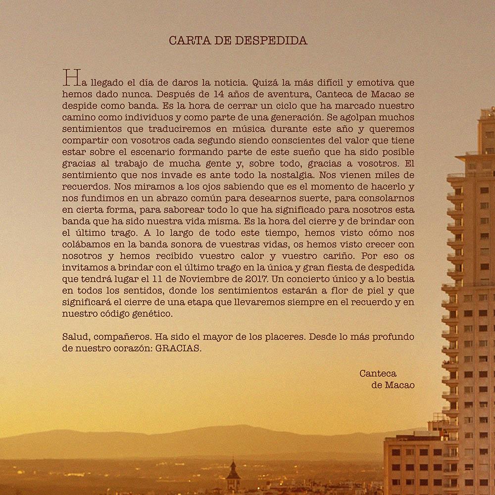 Carta Despedida Canteca de Macao