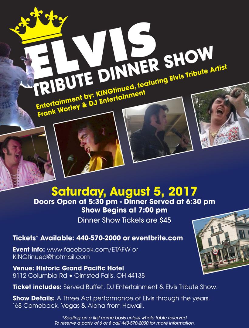 Elvis Tribute Dinner Show flyer