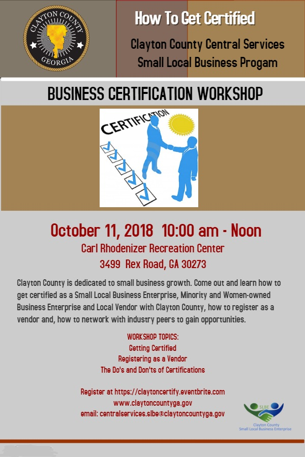 Business Certification Workshop Tickets Thu Oct 11 2018 At 1000