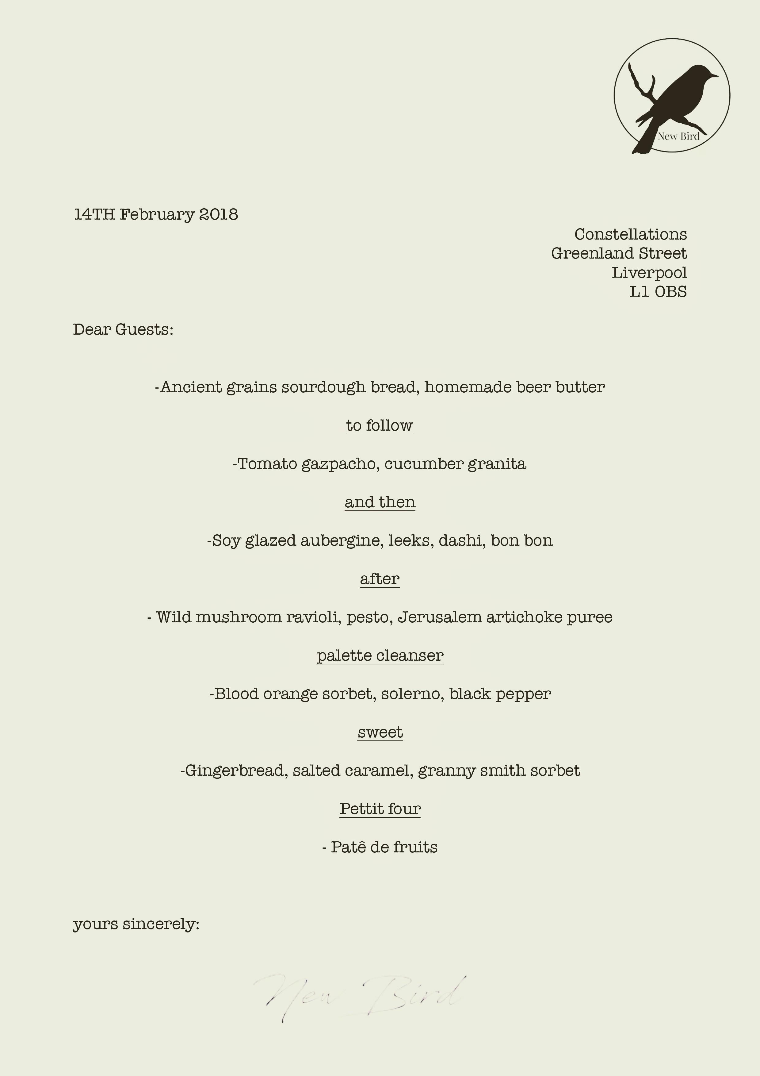 Vegan Valentines Day Taster menu