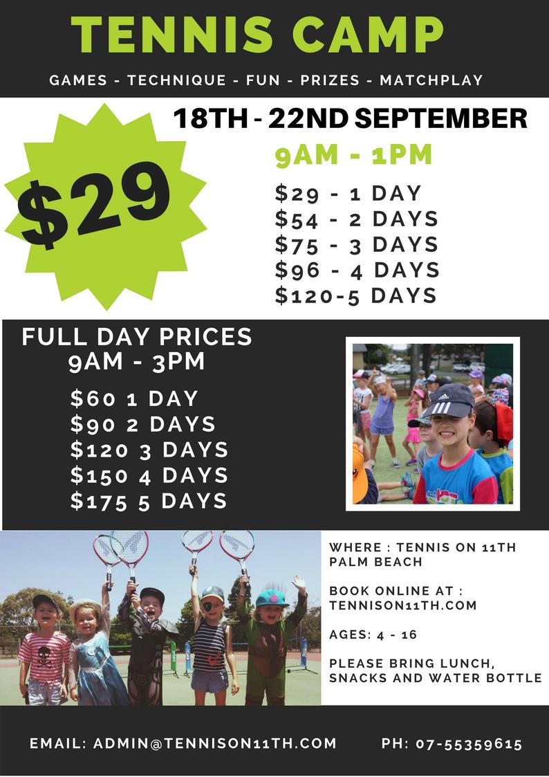 TENNIS CAMP $29 A DAY