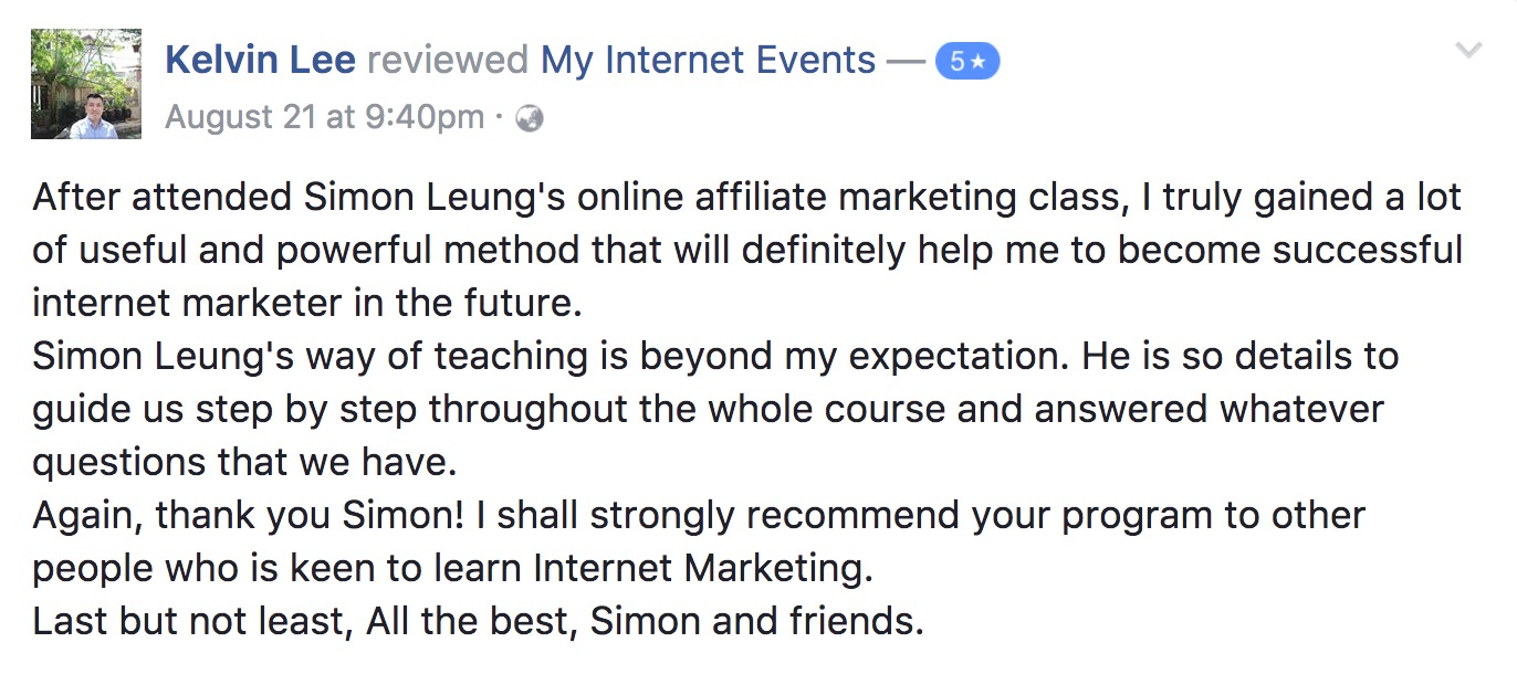 kelvin lee myinternetevents_5_star_rating internet millionaire secrets