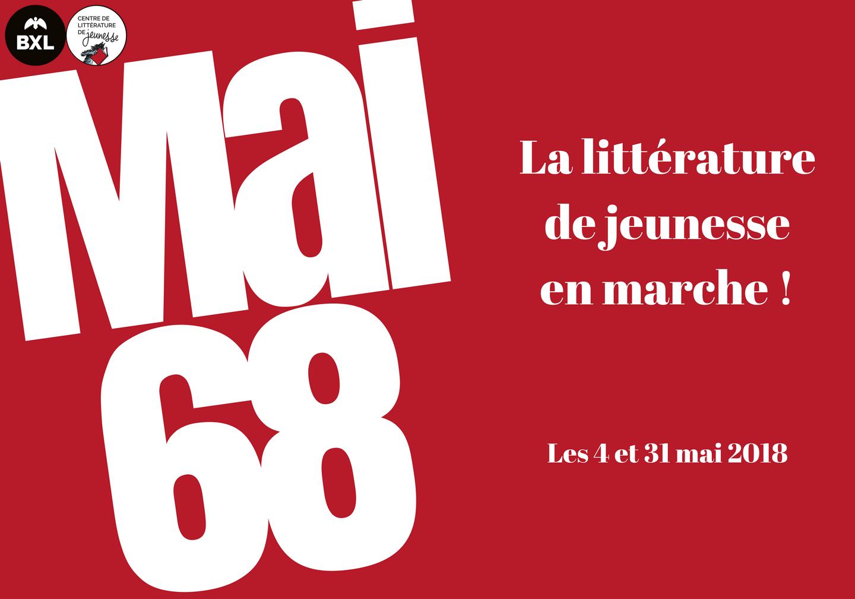 Carte d'invitation pour le cycle de conférence Mai 68 la littérature de jeunesse en marche !
