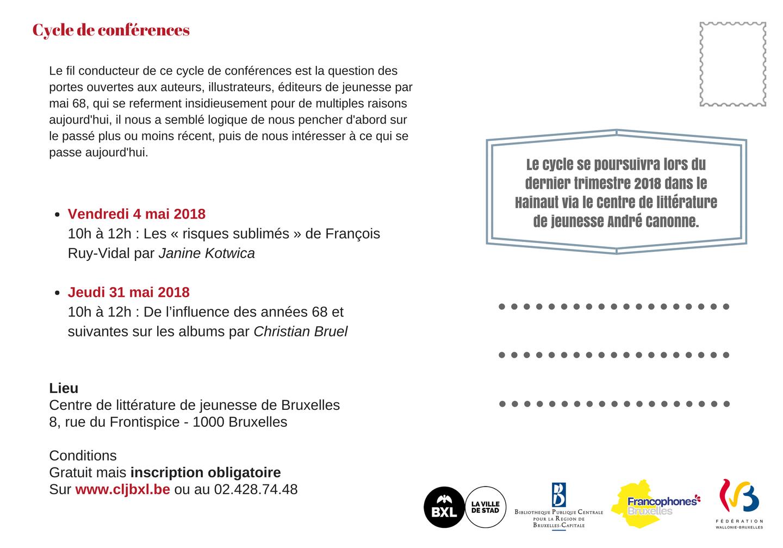 Carte d'invitation pour le cycle de conférence Mai 68 la littérature de jeunesse en marche ! - verso