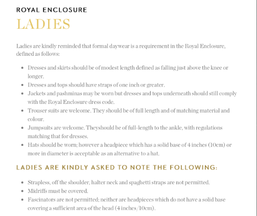 Royal Enclosure Ladies Dress Code