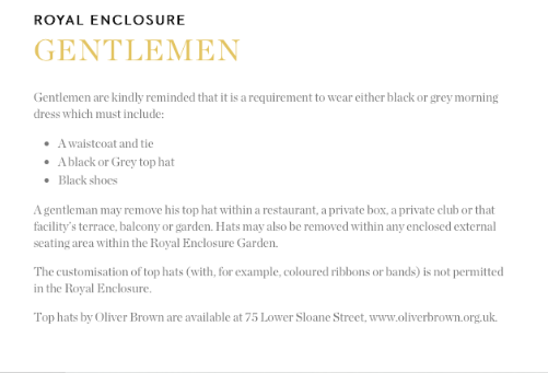 Royal Enclosure Men's Dresscode