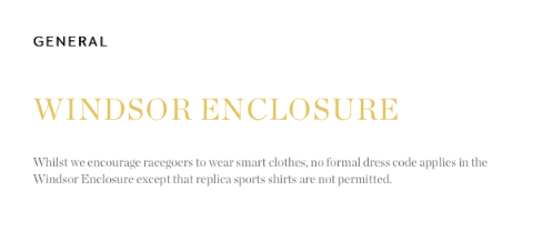 Windsor Enclosure Genral Dresscode