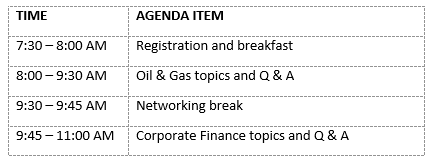 2020 Corporate Finance Information Sessions Agenda