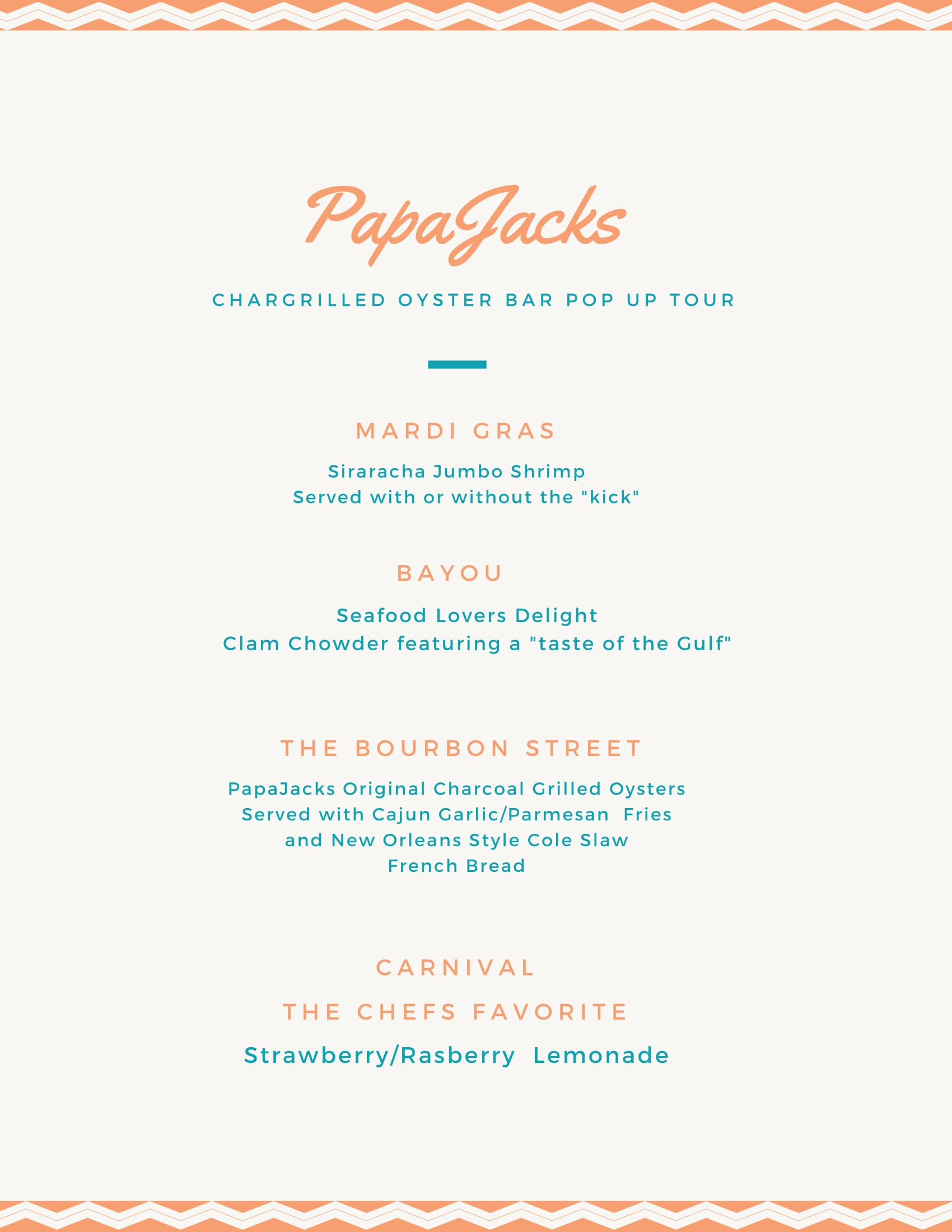 PapaJacks Menu