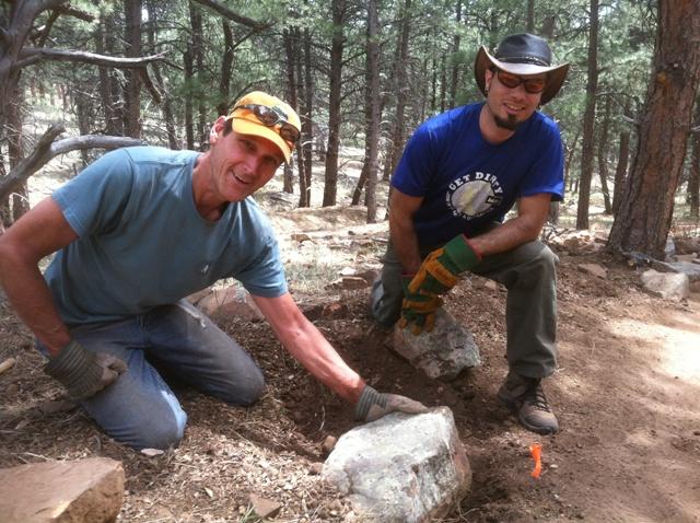 Volunteers doing rock work along the Wapiti Trail