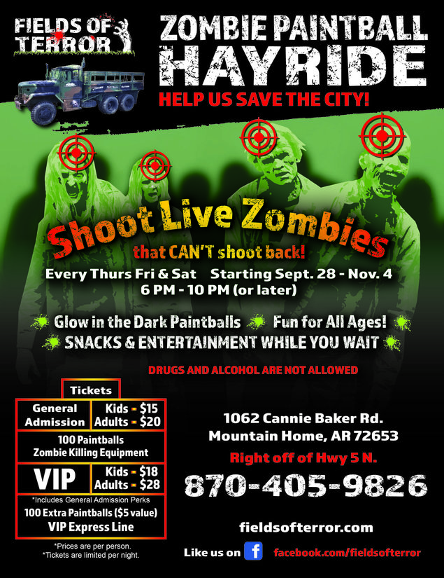 Zombie Paintball Hayride Flyer